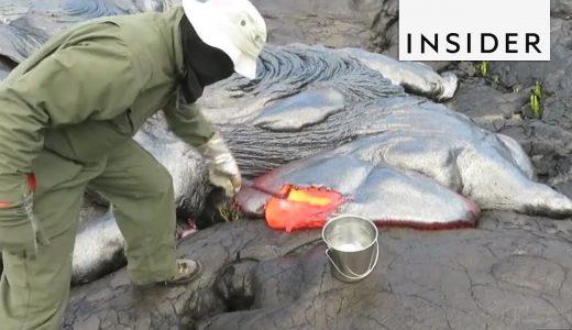 溶岩を飴細工のように採取し続ける様子がおもしろい