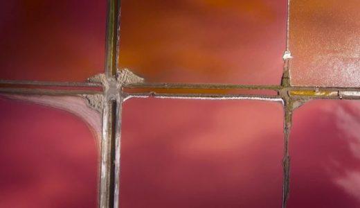 高度好塩古細菌によって赤く着色した塩田が絵の具のパレットみたいに美しすぎる
